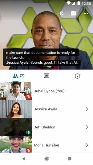 Live Caption in Google Meets for Android