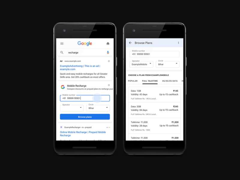 prepaid mobile recharge via google search