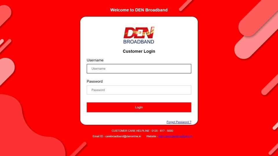 Den Broadband Online Recharge via the Official Website