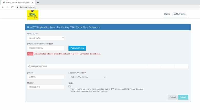 BSNL IPTV Registration Form for the Existing Bharat Fiber Customers