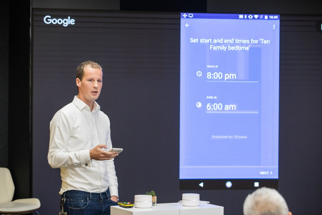 Mr Alex King, Google Wifi Product Manager going through the features of the Google Wifi application.jpg