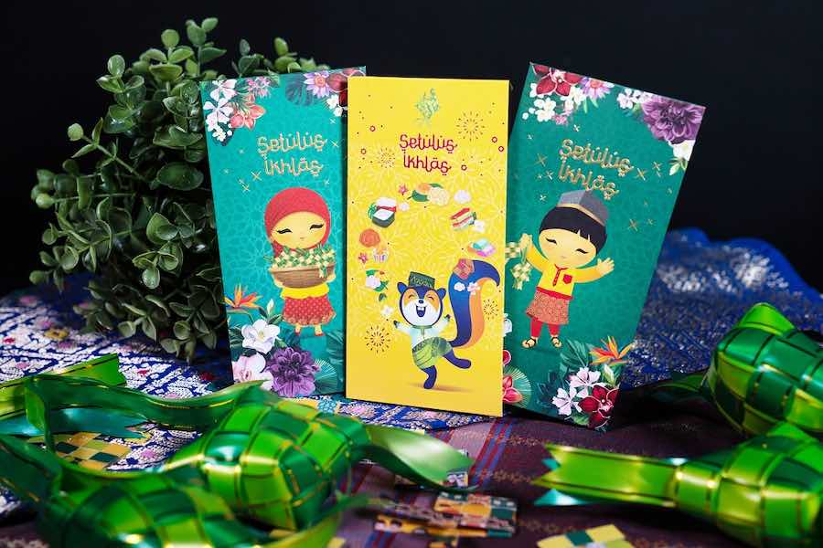 Celebrate Hari Raya with the DBS QR Gift and DBS/POSB Hari Raya green packets featuring Singapore's beloved mascots Xing, Jaan, and Smiley.