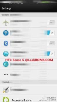 HTC Sense 5 Leaked Settings