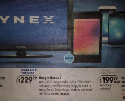 Best Buy Nexus 7 2 ad