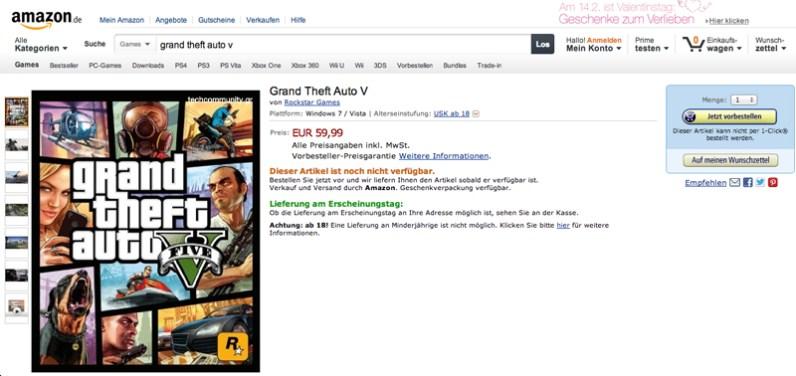 Grand Theft Auto V Amazon.de