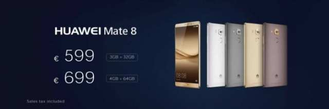 Huawei Mate 8 Europe prices