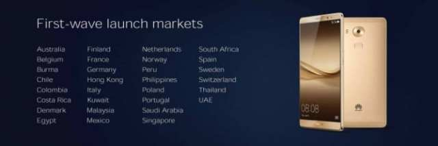 Huawei Mate 8 launch markets