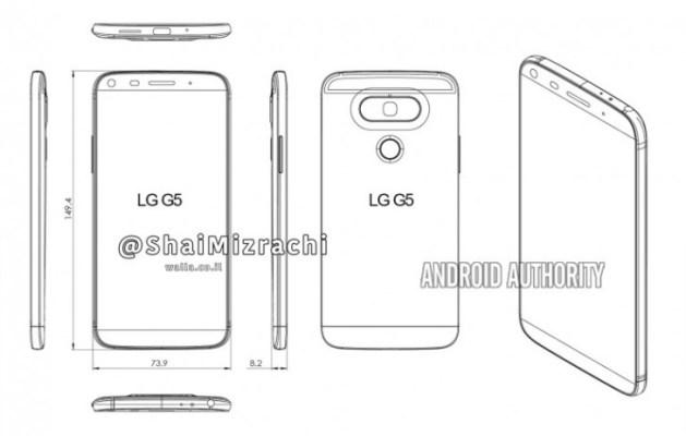 Ένα διάγραμμα του LG G5.