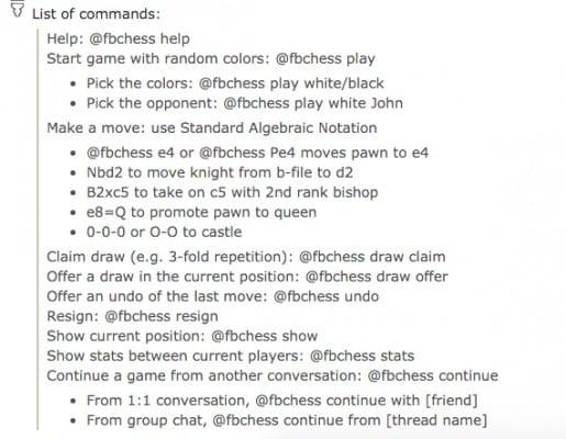 Facebook Messenger @fbchess commands