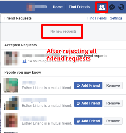 after all facebook friend requests rejected