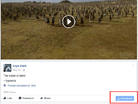 download video button under the post
