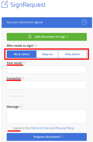 SignRequest options on its interface