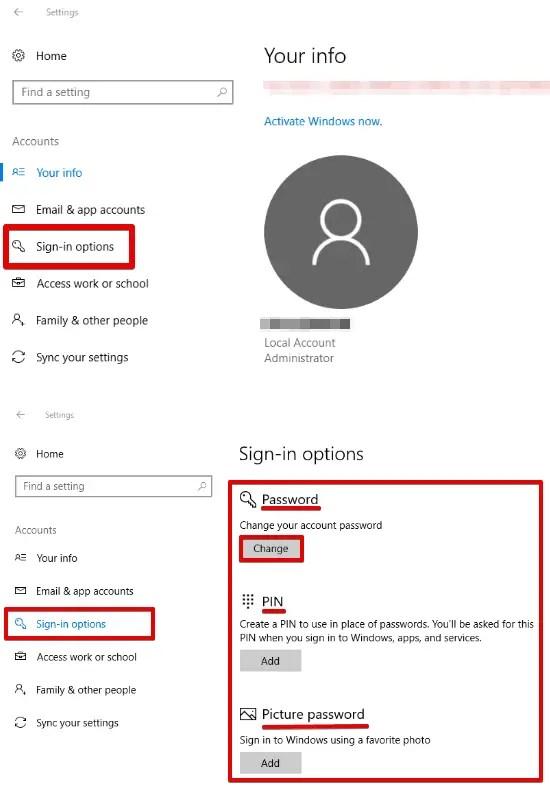 Windows 10 password change settings app