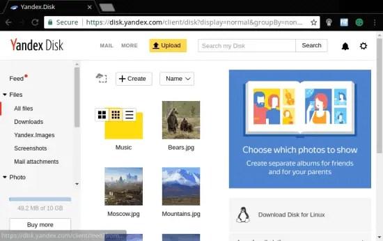 Yandex disk 10 GB free cloud storage provider