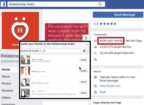 Facebook invite window