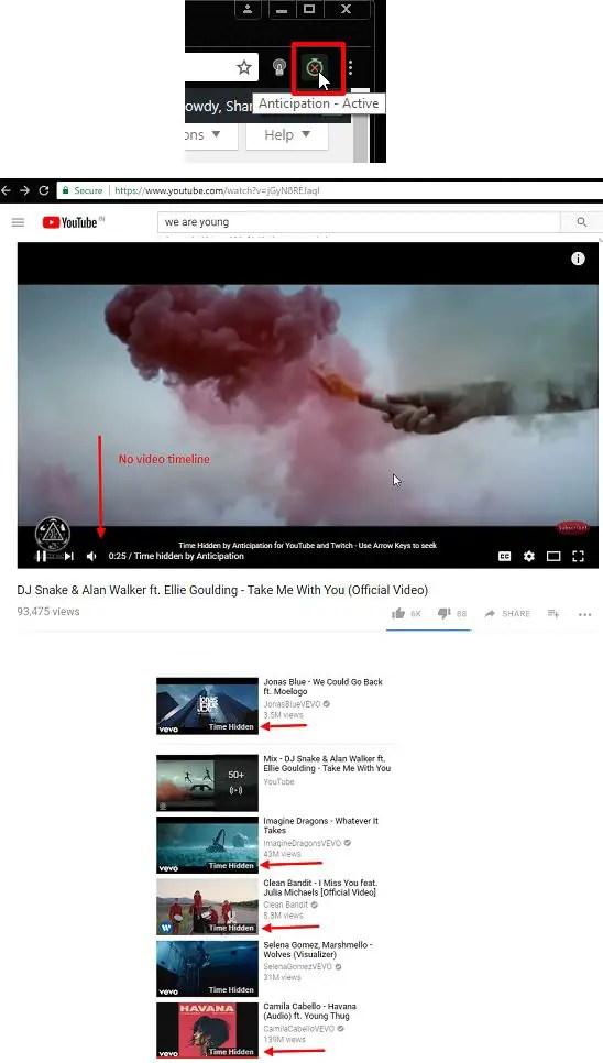 anticipation youtube hide video timeline progress bar