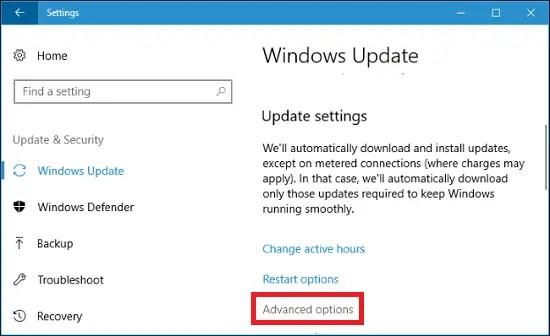 windows 10 update settings advanced options