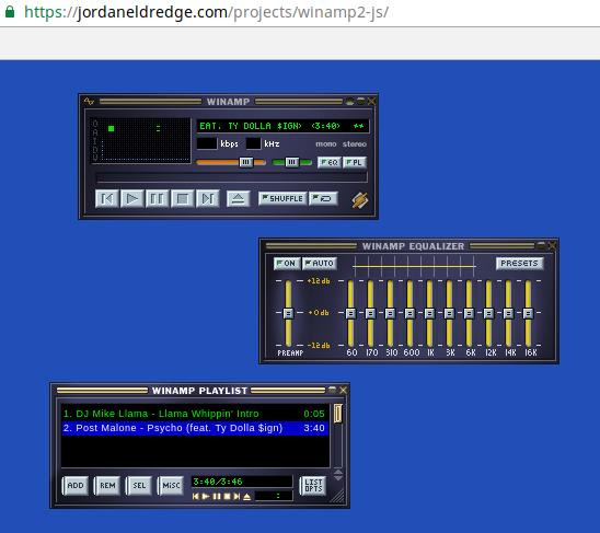 winamp2-js online version of winamp draggable interface