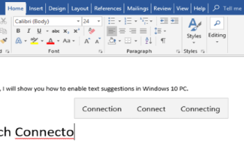 text suggestions in windows 10