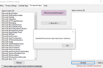 remove provisioned apps windows 10