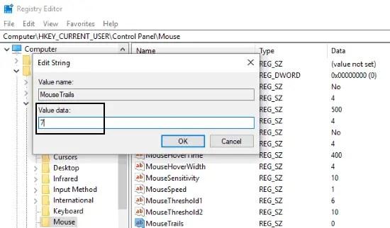 change mouse cursor trials value data