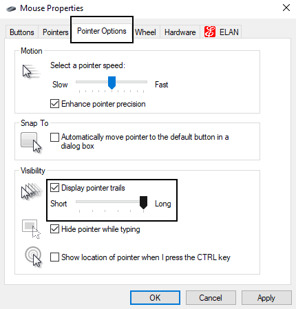 enable mouse pointer trail