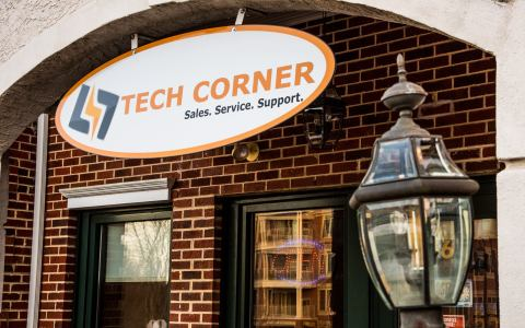 tech corner storefront banner located at 566 wharton blvd in exton pa