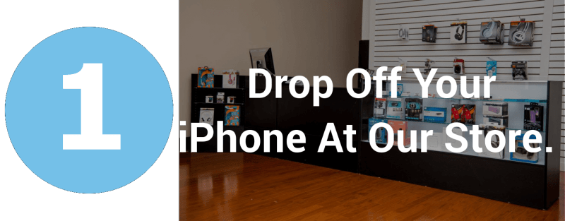 picture of the number one on the left, with instructions on how to drop off phone for repair and a picture of the tech corner storefront in the background