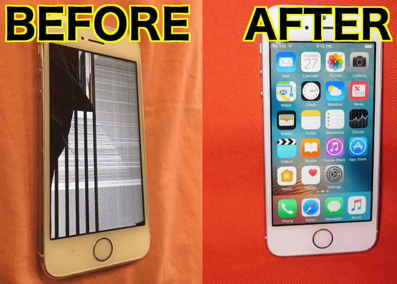 iphone 5s before cracked screen and after screen replacement