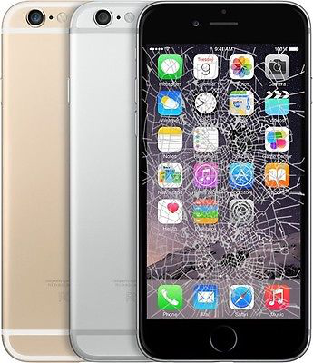 picture of black, silver and gold iphone 6 with a broken lcd screen and cracked display on the black model