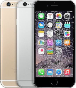 picture of black, silver and gold iphone 6s with a broken lcd screen and cracked display on the black model