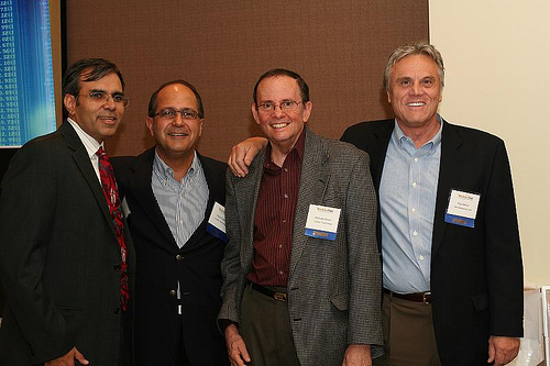 Feyzi Fateh (Corent), Anjay Bajaj (Altos), Michael Oliver (Corent), and Paul Minor (iPhotoMeasure) at VentureNet.