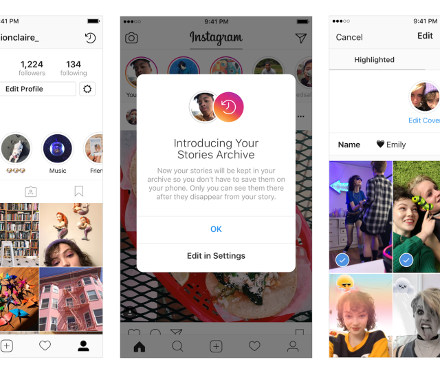 Instagram Stories Highlights Archive