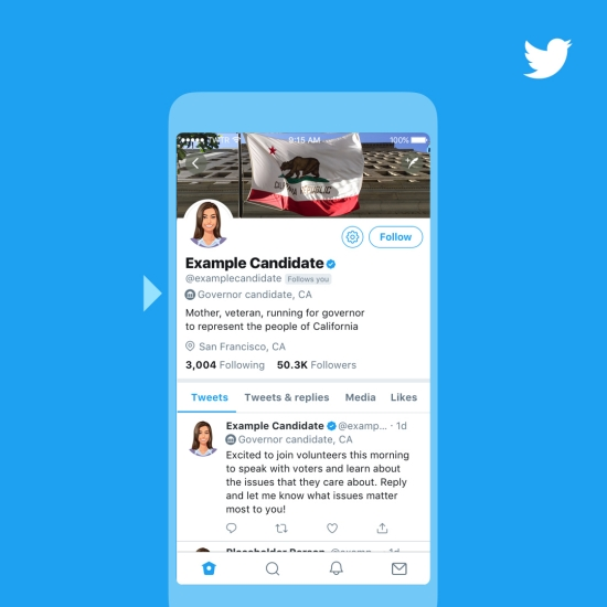 Twitter will give political candidates a special badge during U.S. midterm elections
