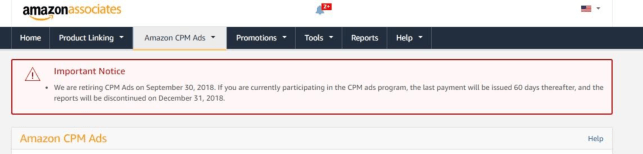Amazon is retiring CPM Ads, a display ad network for Amazon Associates, by the end of September