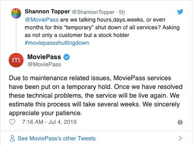 Screenshot from MoviePass' Twitter replies