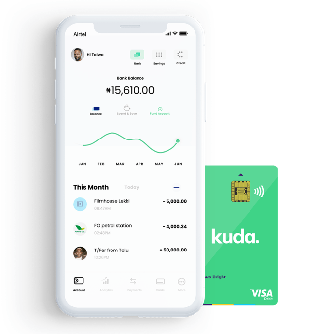 Kuda Transaction Veil screen Card