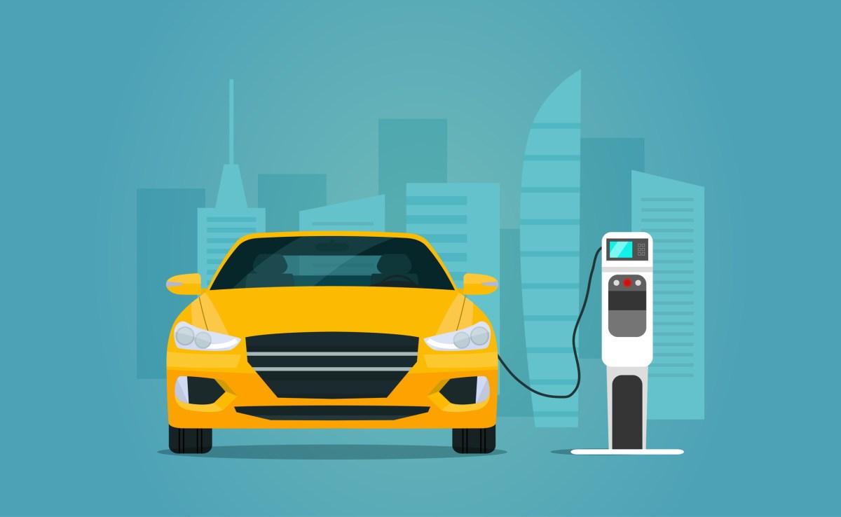 Электрический седан, автомобильная зарядка