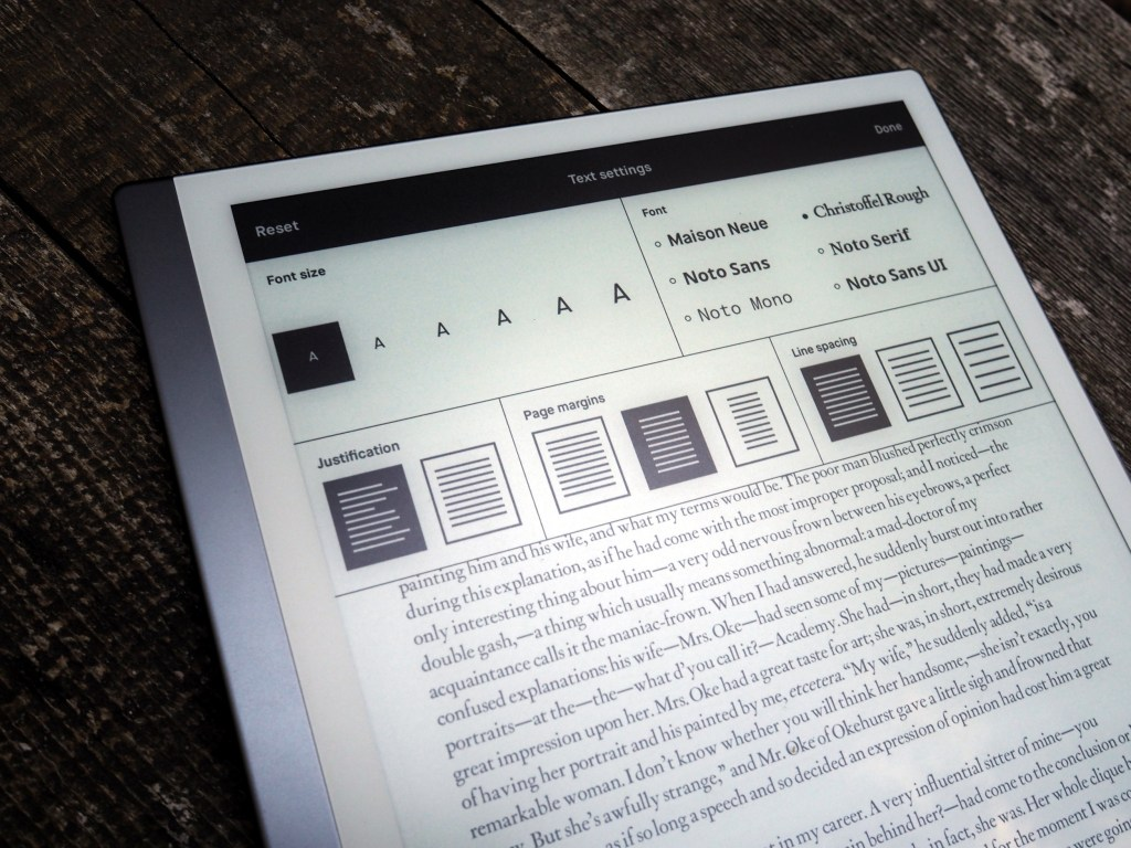 Text options on the remarkable tablet