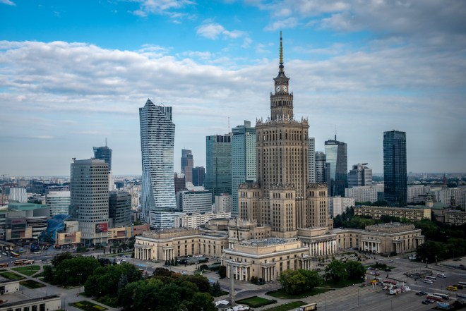The Palace of Culture and Science is standing reminder of communism in Warsaw, Masovian Voivodeship, Poland.