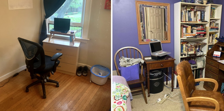 Two teachers' minimal home offices.