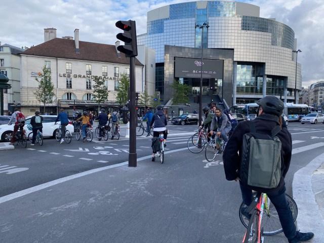 A bike traffic jam near Bastille, Paris
