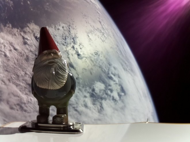 A 3D printed gnome in space after being launched on a Rocket Lab rocket.