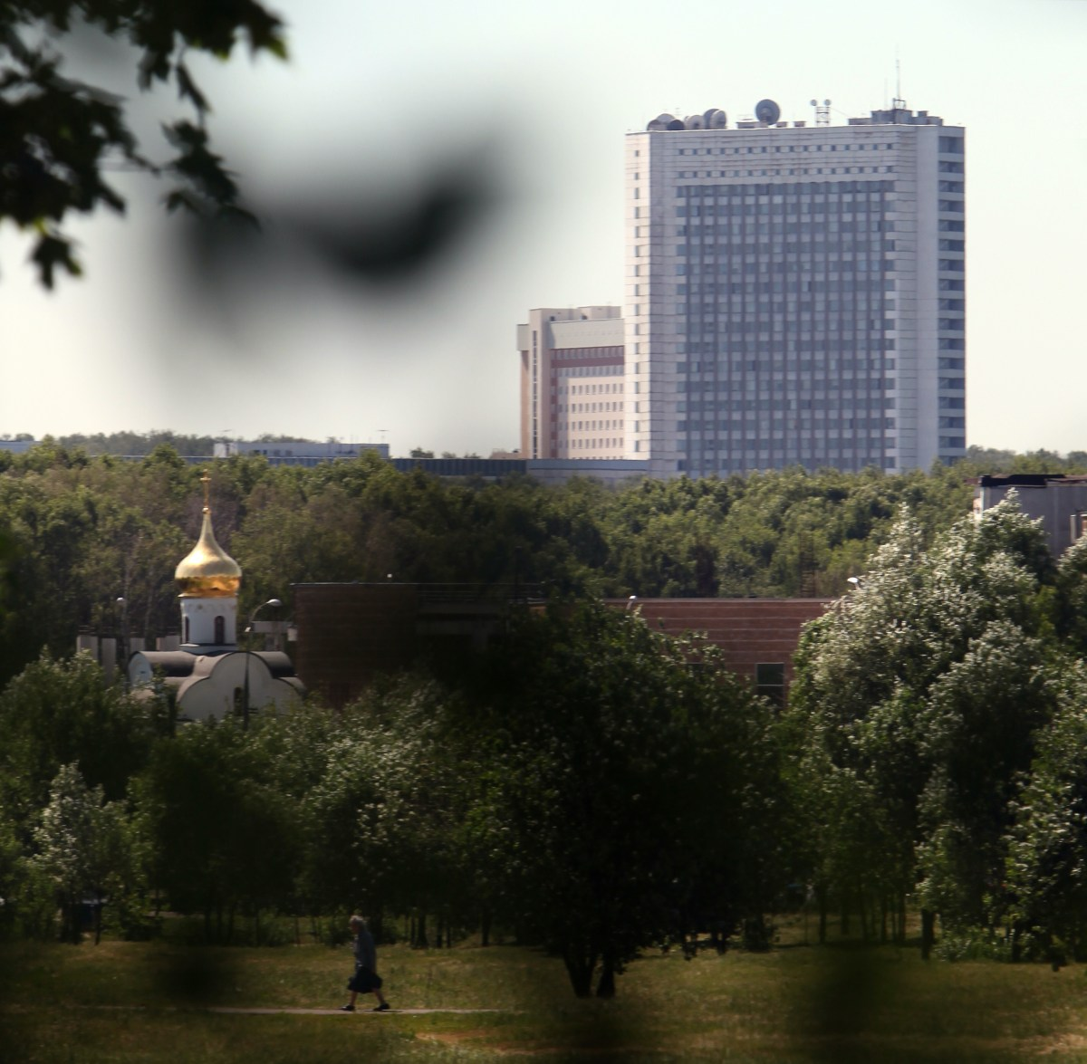 A distant view of Russia's foreign intelligence service compound.