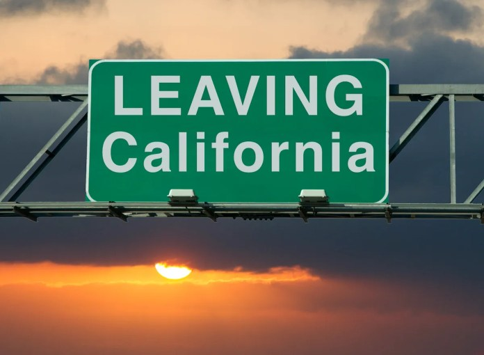 """A road sign that says """"Leaving California."""""""