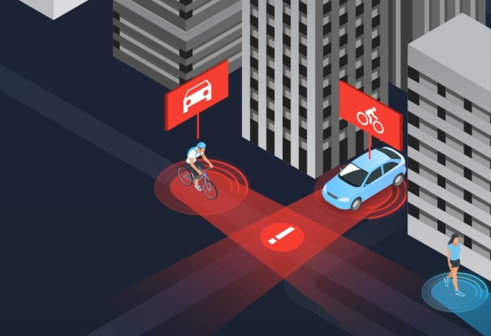 CG illustration of a bicyclist and car being warned of an imminent collision.