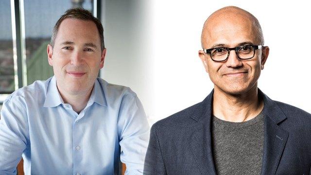 AWS CEO Andy Jassy and Microsoft CEO Satya Nadella