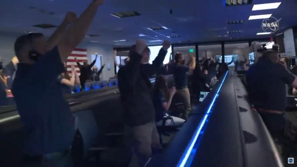 NASA crew celebrating the landing of rover Perseverance on Mars.