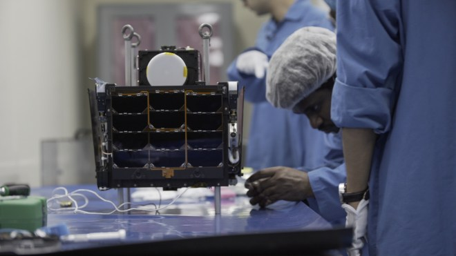 Pixxel's Hyperspectral imaging satellite at its production facility in Bangalore