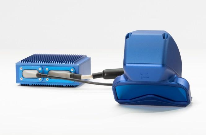 A Baraja lidar unit painted bright blue.